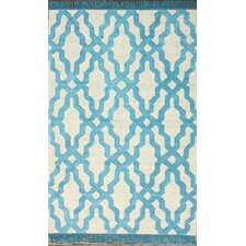 Brilliance Blue Elegant Trellis with Fringe Rug