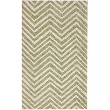 Trellis Green Chevron Rug