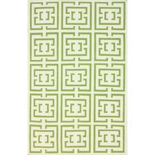 Flatweave Green Locking Squares Area Rug