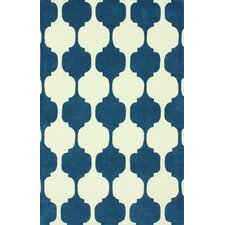 Gradient Navy Daisy Area Rug