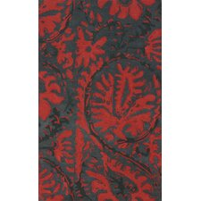 Goodwin Charcoal/Red Felicity Area Rug