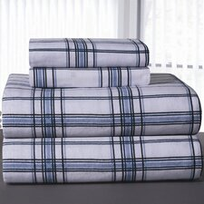 Heavy Weight Plaid Printed Flannel Sheet Set