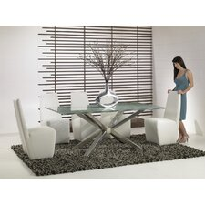 "44"" Mantis 6 Piece Crackle Glass Dining Set with Crackle Glass"