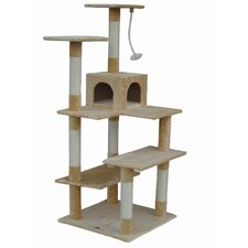 "65"" Cat Tree Condo House in Beige"