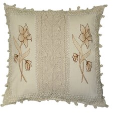 Braided Crochet Stripe / Floral Design Throw Pillow