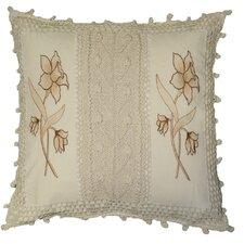 Braided Crochet Stripe / Floral Design Throw Pillow