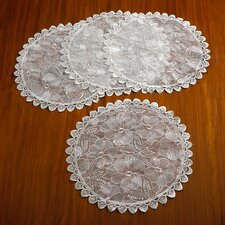 Crystal Embroidered Lace Round Doilie (Set of 4)