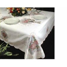 <strong>Violet Linen</strong> Fontainebleau Flower Embroideredred Tablecloth