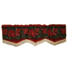 Seasonal Poinsettia Design Rod Pocket Scalloped Curtain Valance