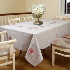 <strong>Violet Linen</strong> Lilies Embroidered Design Tablecloth