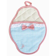 Yarn-Dye Blue and White Gingham Scalloped Pot Mitt