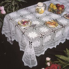 <strong>Violet Linen</strong> Stars Crochet Design Tablecloth