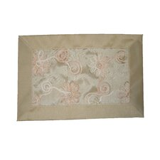 <strong>Violet Linen</strong> Emerald Embroidered Peach Ribbon Design Placemat