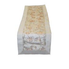<strong>Violet Linen</strong> Emerald Embroidered Peach Ribbon Design Table Runner