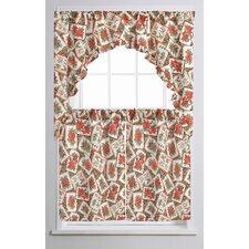 "European Christmas Poinsettia Bloom 60"" Curtain Valance and Tier Set"