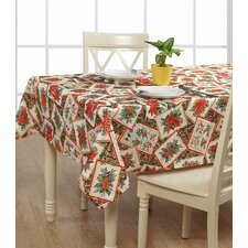 European Christmas PoinSettia Bloom Design Printed Tablecloth