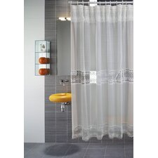 <strong>Violet Linen</strong> Treasure Macrma Lace Shower Curtain