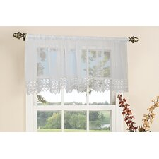 <strong>Violet Linen</strong> Daisy Design Rod Pocket Ruffled Curtain Valance