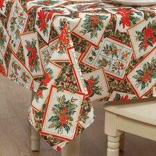 European Christmas PoinSettia Bloom Design Printed Tablecloth