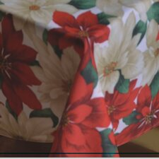 European Christmas PoinSettia Floral Design Printed Tablecloth