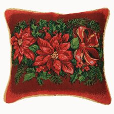 Seasonal Poinsettia Design Cushion Cover