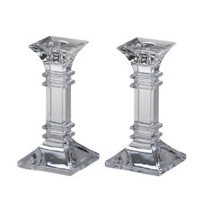 2 Piece Treviso Crystal Candlestick Set