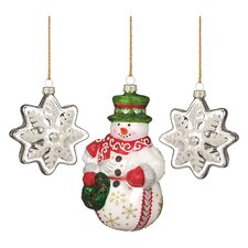 Wintertime Snowman Blown Glass Ornament (Set of 3)