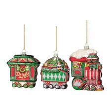 Christmas Train Blown Glass Ornament (Set of 3)