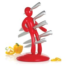 The Ex 2nd Edition Five Piece Knife Set with Holder in Red (Set of 5)