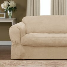<strong>Maytex</strong> Piped Suede Separate Seat Sofa Slipcover