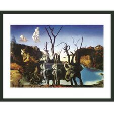 'Swans Reflecting Elephants' by Salvador Dali Framed Painting Print