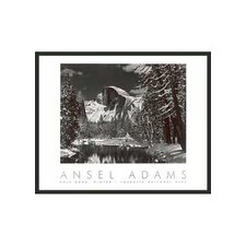 "Half Dome Winter Framed Print by Ansel Adams - 30"" x 24"""