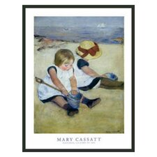 'Children Playing on the Beach' by Cassatt Framed Painting Print