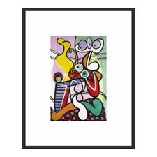 "Still Life on Large Pedestal Table by Picasso Framed Print - 14"" x 11"""