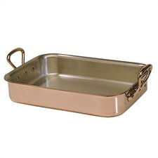 M'heritage Cuprinox 4.1-Quart Rectangular Roasting Pan with Bronze Handles