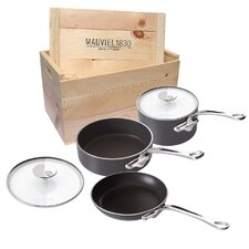 M'Stone2 Anodized Aluminium 5-Pieces Cookware Set with Crate