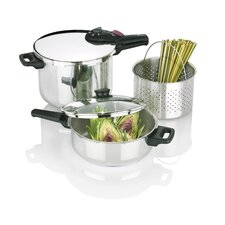 <strong>Fagor</strong> Splendid 5 Piece Stainless Steel 2-in-1 Multi-Pressure Cooker Set