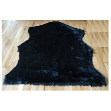 Animal Hide Black Sheep Fur Rug