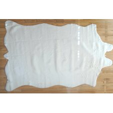 Animal Hide White Solid Fur Rug