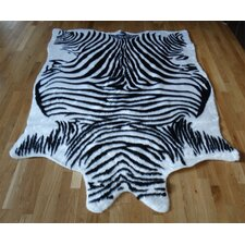 Animal Hide Black/White Zebra Fur Rug