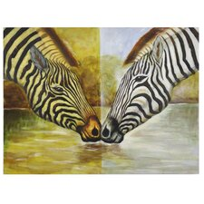 Two Zebras Original Painting on Canvas