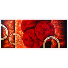 Contemporary Red Rings Original Painting on Canvas