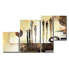 People and Town 4 Piece Original Painting on Canvas Set