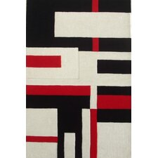 Modern Cool Red/White/Black Rug
