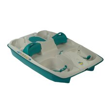 Sun Slider Five Person Pedal Boat with Adjustable Seats in Cream / Teal