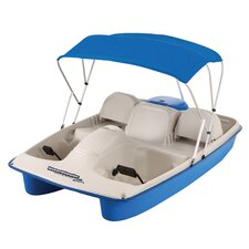 Water Wheeler ASL Five Person Pedal Boat with Adjustable Seats and Canopy in Cream / Blue