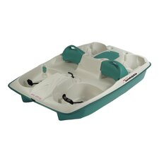 Sun Slider Five Person Pedal Boat with Adjustable Seats and Stainless Steel Package in Cream / Teal