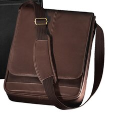 Metro Vertical Laptop Water Resistant Flap Leather / Nylon Briefcase
