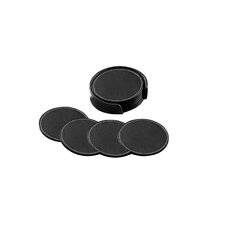 Florentine Napa Deluxe Round Coaster Set in Black (Set of 4)