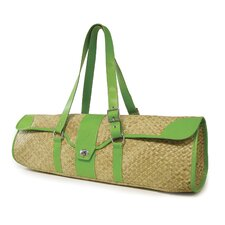 St.Tropez Yoga Bag in Natural with Green Leather Trim
